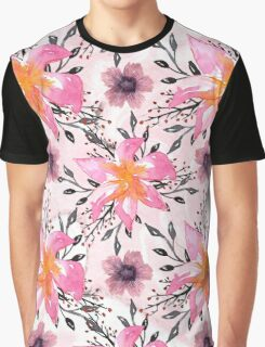 Festive Pink Flowers Watercolor Marbles Graphic T-Shirt
