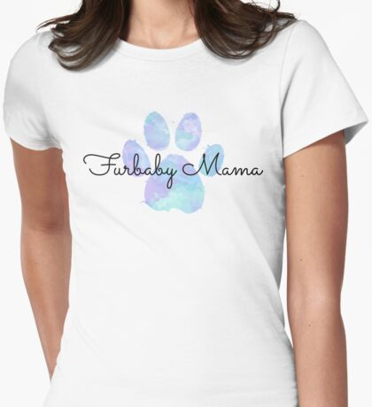 Furbaby Mama, Blue Dog Paw Womens Fitted T-Shirt