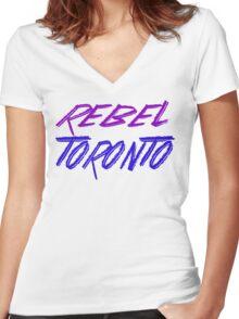 Rebel Toronto Women's Fitted V-Neck T-Shirt