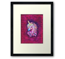 Unicorn, fantasy, magic, magical, rainbow, color, horse, lily, flowers, pony Framed Print