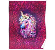 Unicorn, fantasy, magic, magical, rainbow, color, horse, lily, flowers, pony Poster