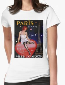 """PARIS"" Vintage Ville D'Amour Travel Print Womens Fitted T-Shirt"