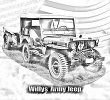 Willys World War Two Jeep Illustration by KWJphotoart