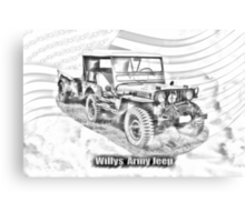 Willys World War Two Jeep Illustration Canvas Print