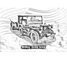 Willys World War Two Jeep Illustration Photographic Print