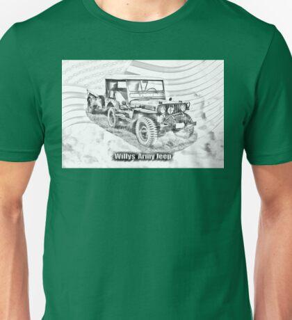 Willys World War Two Jeep Illustration Unisex T-Shirt
