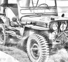 Willys World War Two Jeep Illustration Sticker
