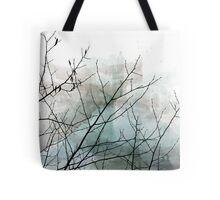 Gray Watercolor & Black Branches Tote Bag