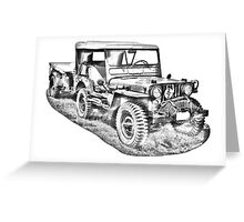Willys World War Two Army Jeep Illustration Greeting Card