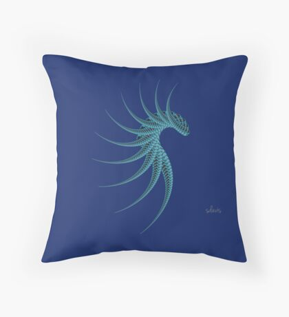 Abstract Black & Blue Fractal 573B Throw Pillow