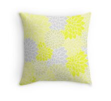Yellow And Gray Dahlia Pattern Throw Pillow