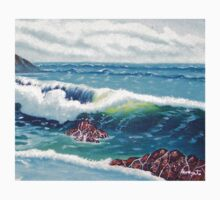Oregon Seascape 84 oil painting  One Piece - Short Sleeve