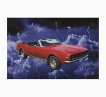 1967 Convertible Red Camaro And Thunderstorm One Piece - Short Sleeve