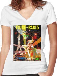 """PARIS"" Vintage Bastille Day Advertising Print Women's Fitted V-Neck T-Shirt"
