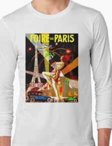 """PARIS"" Vintage Bastille Day Advertising Print Long Sleeve T-Shirt"