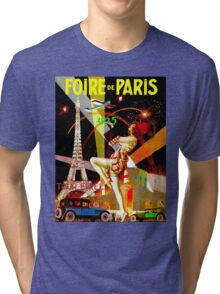 """PARIS"" Vintage Bastille Day Advertising Print Tri-blend T-Shirt"