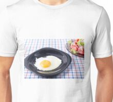 Small portion of the breakfast of fried egg and vegetable salad Unisex T-Shirt