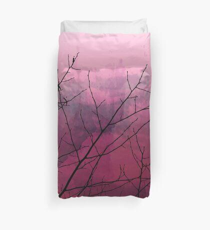 Plum Watercolor & Black Branches Duvet Cover