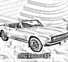 1967 Convertible Red Camaro Illustration by KWJphotoart