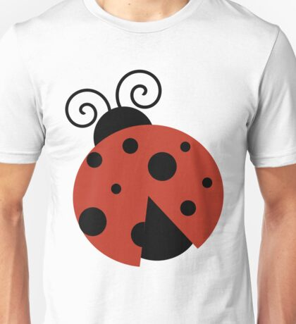 Ladybug (Ladybird, Lady Beetle) with Dots - Red Unisex T-Shirt