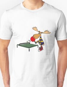 Funny Cool Moose Playing Table Tennis  Unisex T-Shirt