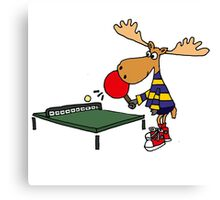 Funny Cool Moose Playing Table Tennis  Canvas Print