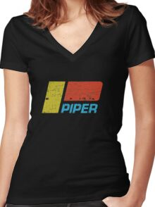 Piper Vintage Aircraft Women's Fitted V-Neck T-Shirt