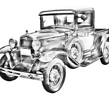1930 Model A Ford Pickup Truck Illustration by KWJphotoart