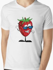 Cool Strawberry Character Mens V-Neck T-Shirt