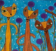 Whimsical Silly Skinny Kitty Cats and Purple Flowers by art-by-micki