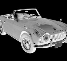 Black And White Triumph Tr4  Sports Car by KWJphotoart