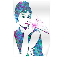 Audrey Hepburn Watercolor Pop Art  Poster