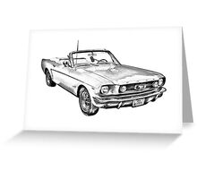 1965 Red Ford Mustang Convertible Drawing Greeting Card