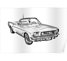 1965 Red Ford Mustang Convertible Drawing Poster