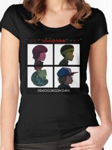 Stranger Things - Gorillaz Album Cover Style Women's Fitted Scoop T-Shirt