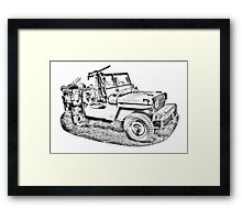 Willys World War Two Army Jeep Illustration Framed Print
