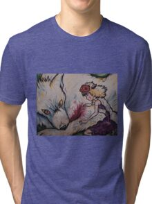 mononoke and the wolf Tri-blend T-Shirt