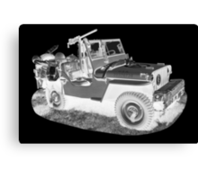 Black And White Willys World War Two Army Jeep Canvas Print