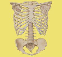 halloween Gothic Anatomy Rib Cage bones human skeleton  Kids Tee