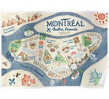 Map of Montreal, Canada Poster