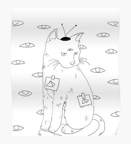 Alien Cat - Always Watching Poster