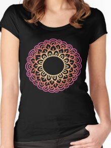 Colorful doodle flower frame . Simple flower label. Mehndi hand drawn template. Women's Fitted Scoop T-Shirt