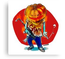 gang squad member pumpkin head with gun Canvas Print