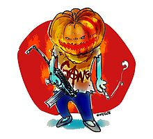 gang squad member pumpkin head with gun Photographic Print