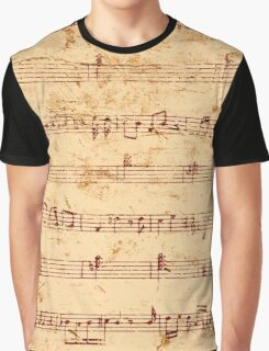 Grunge piano notes music sheet Graphic T-Shirt