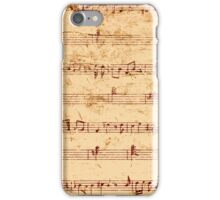 Grunge piano notes music sheet iPhone Case/Skin