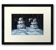 Mean Snowman Framed Print