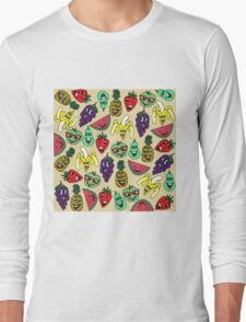 Funny Cute Fruit Illustrations Pattern Long Sleeve T-Shirt