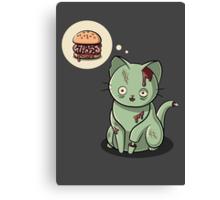 Zombie Cat Can Haz Brain Burger? Canvas Print
