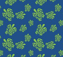 Turtle Green and Blue Print by ImagineThatNYC